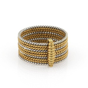 Cartier Vintage Cartier 18k Two Tone Slim Multi Wire Stack Band Ring Size 8