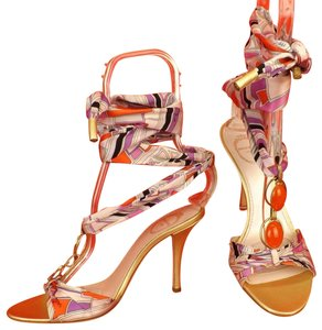 Emilio Pucci Satin Geometric Italian Jeweled Ankle Wrap Multicolor Gold Sandals