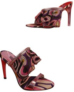 Emilio Pucci Satin Geometric Italian Jeweled Ankle Wrap Multicolor Silver Sandals