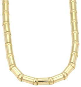 "Chopard 18k Yellow Gold 6mm Tube Link Fancy Necklace 16.5"" Long"