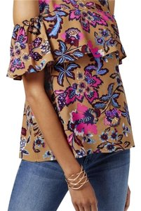 INC International Concepts Ruffle Sequin Floral Top multi