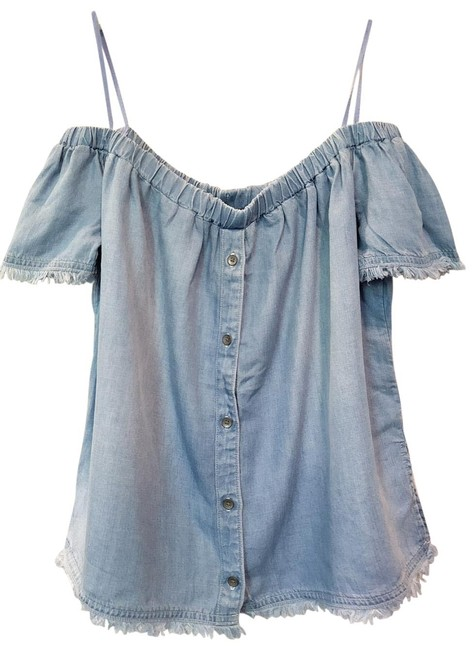 Anthropologie Chambray Chelsea & Violet Off Shoulder M Button-down Top Size 8 (M) Anthropologie Chambray Chelsea & Violet Off Shoulder M Button-down Top Size 8 (M) Image 1
