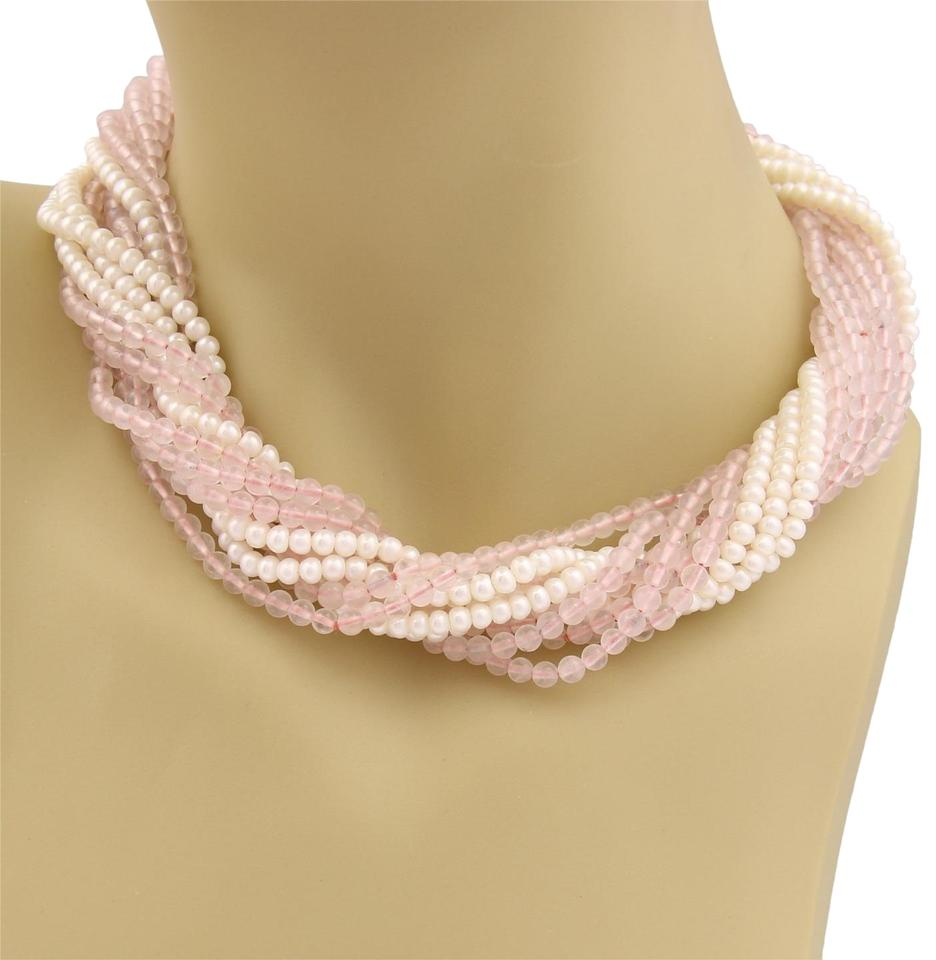 9f59af4eb Tiffany & Co. Pearls & Pink Quartz Sterling Silver 11 Beaded Strand  Necklace Image 0 ...