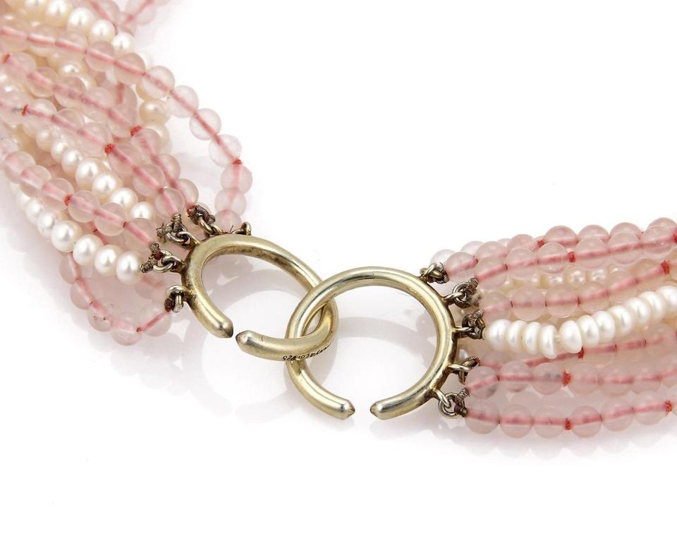 61b07ba25 Pearls & Pink Quartz Sterling Silver 11 Beaded Strand Necklace Image 3. 1234