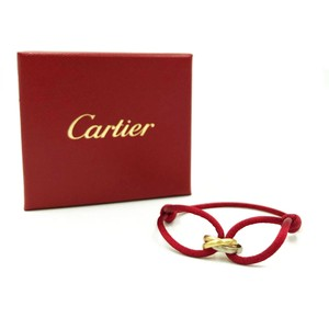 Cartier Trinity 18k Tricolor Gold Mini Ring Charm Red Cord Cert Bracelet