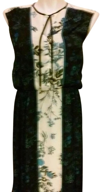 Item - Blue Black White Floral Chiffon Mid-length Night Out Dress Size 6 (S)