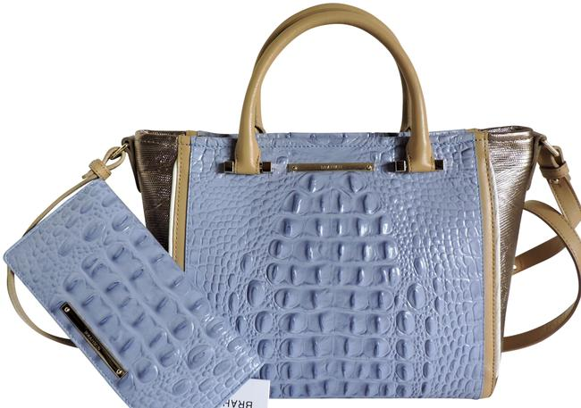 Item - Mini Arno Fontainebleau Wallet New Periwinkle Cream & Rose Gold Genuine Leather Tote