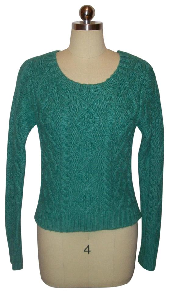 Girl By Band Of Outsiders Green Cable Knit Topshirtblousesweater
