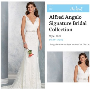 Alfred Angelo Ivory Lace 2162 Sexy Wedding Dress Size 10 (M)