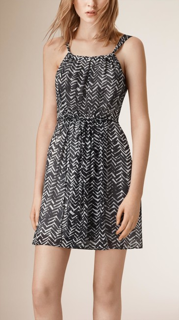 Burberry short dress Black-and-White Silk Black Cocktail on Tradesy Image 2