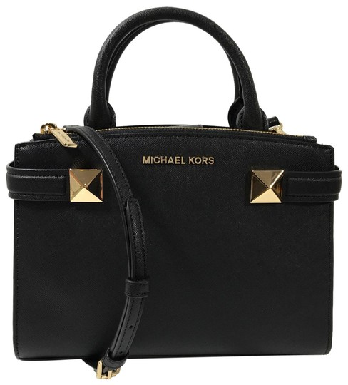 Preload https://img-static.tradesy.com/item/23551805/michael-kors-karla-sm-ew-black-leather-satchel-0-1-540-540.jpg