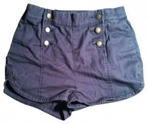 Urban Outfitters Sailor High-waisted Trouser Mini/Short Shorts Dark Grey