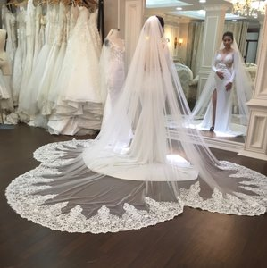 White Long Cathedral Bridal Veil