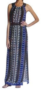 Bohemian print - black and blue Maxi Dress by Cynthia Vincent Maxi Racerback Leather Racerback Bule Maxi
