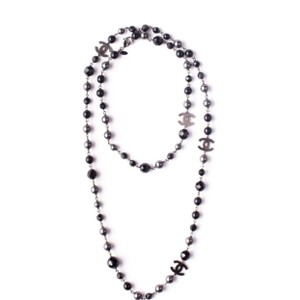 "Chanel Famous Black Silver Gunmetal 46"" inch long necklace"