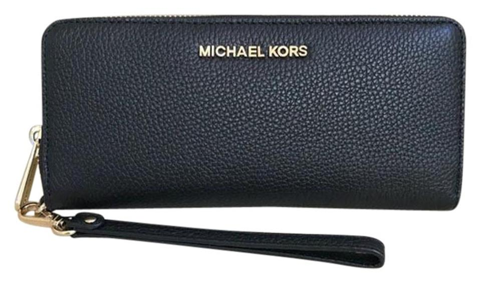 bcf792d2ea81 Michael Kors Michael Kors Jet Set Travel Leather Continental Wristlet  Wallet NWT Image 0 ...