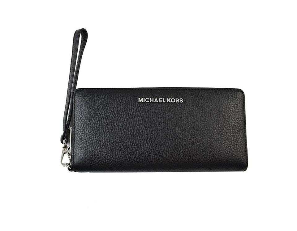 4b4ec20cd1d1 Michael Kors Black Silver Jet Set Travel Leather Continental Wristlet Wallet