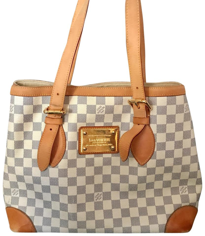 e09845fe589a Louis Vuitton Hampstead Damier Azur Mm White Gray Brown Leather Tote ...