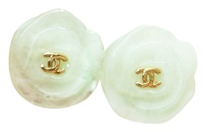 Chanel Authentic Chanel CC Lt. Green -colored Resin Camellia Clip on Earrings