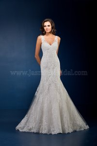 Jasmine Couture Bridal Ivory Lace T162072 Formal Wedding Dress Size 14 (L)