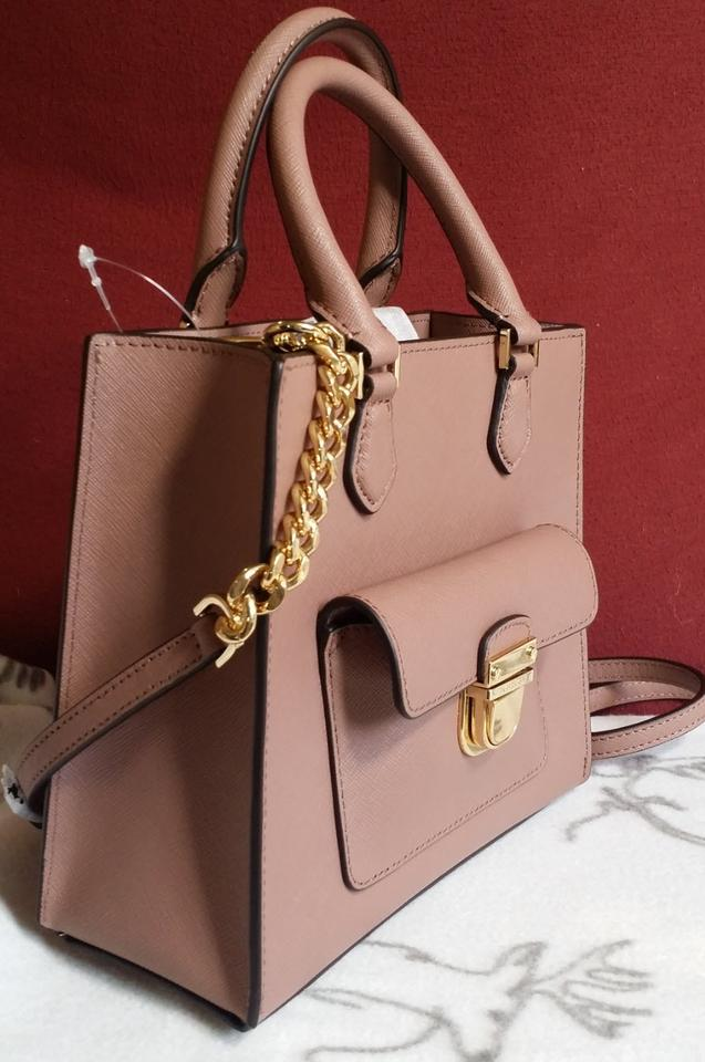 c2b4ced2cf92 Michael Kors Leather Satchel 35f7gbdt1l Tote in DUSTY ROSE Image 8.  123456789