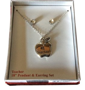#1 Teacher Pendant and Earring Set 18 inches