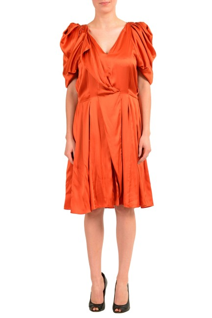Item - Orange V-11403 Mid-length Short Casual Dress Size 4 (S)