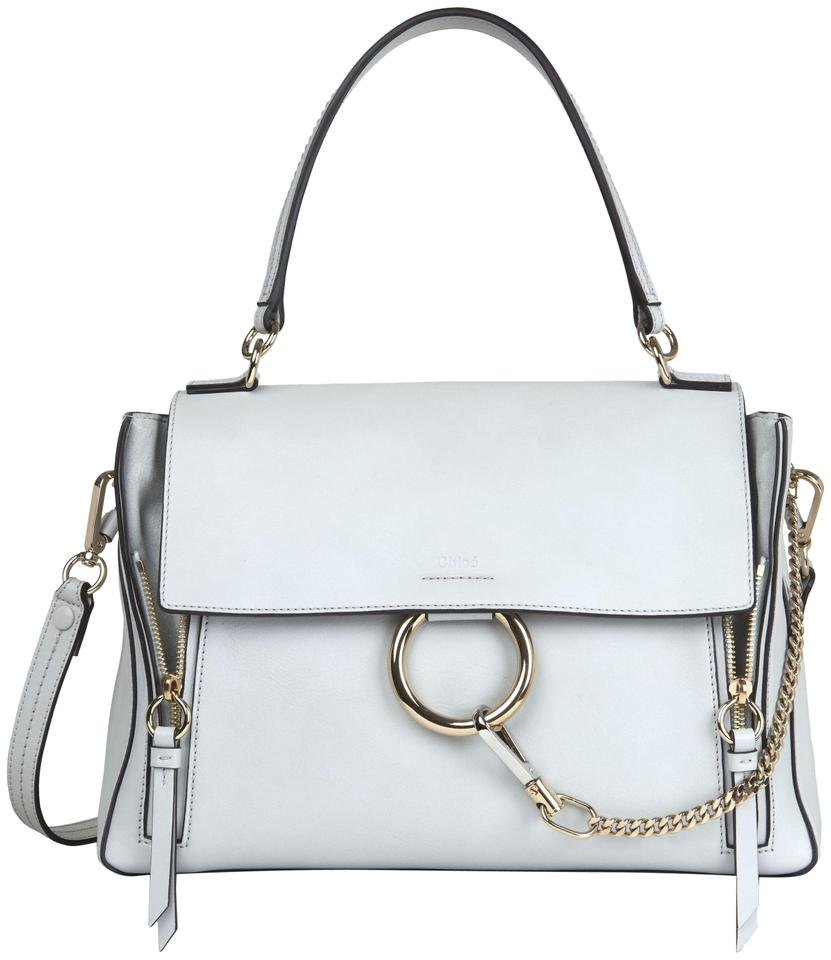 d8d701af44 Chloé Faye Day Medium Double Carry Airy Grey Smooth & Suede Calfskin  Shoulder Bag 23% off retail