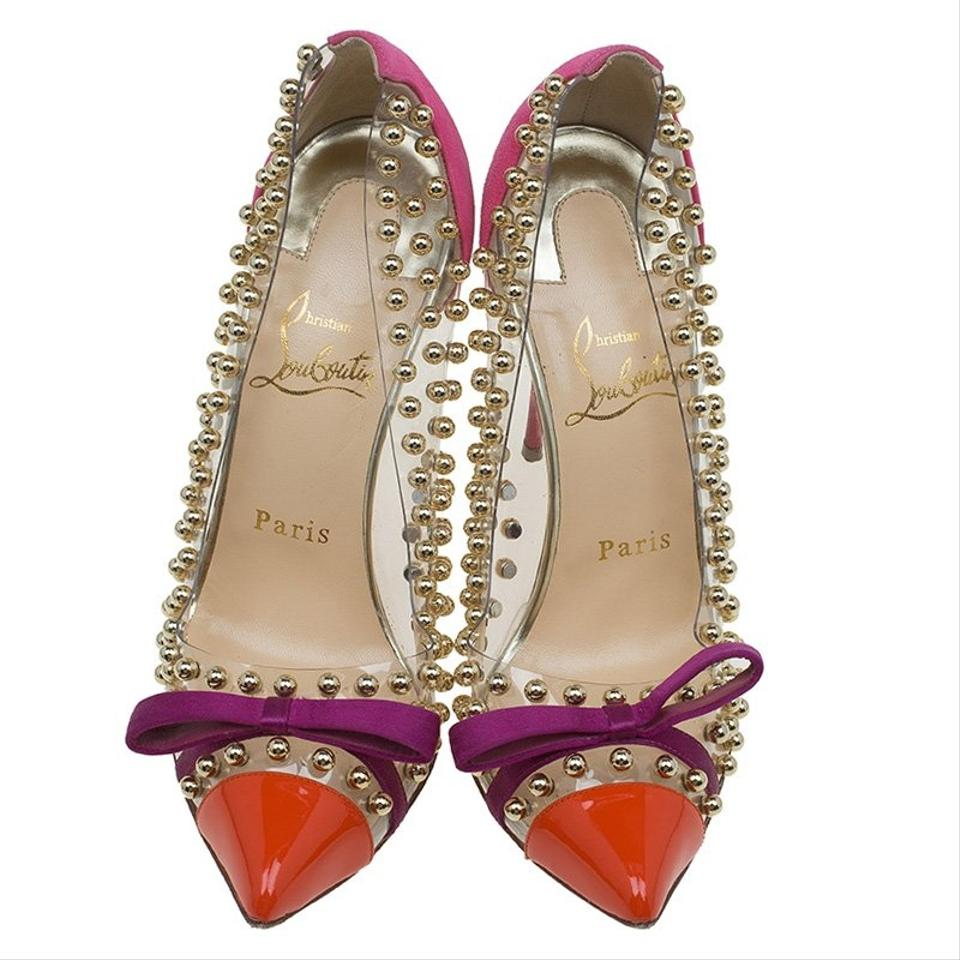 02db37aaafef Christian Louboutin Pink Multicolor Pvc Suede and Patent Studded ...