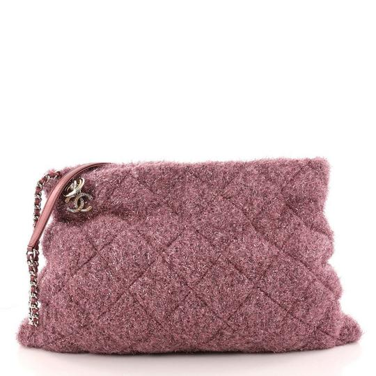 00e617b1ca78 Chanel Shopping Handbag Quilted Pluto Glitter Large Pink Knit Fabric Tote -  Tradesy