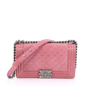 ef63d54efa93 Added to Shopping Bag. Chanel Patent Shoulder Bag. Chanel Classic Flap Boy  Quilted Crinkled Old Medium ...
