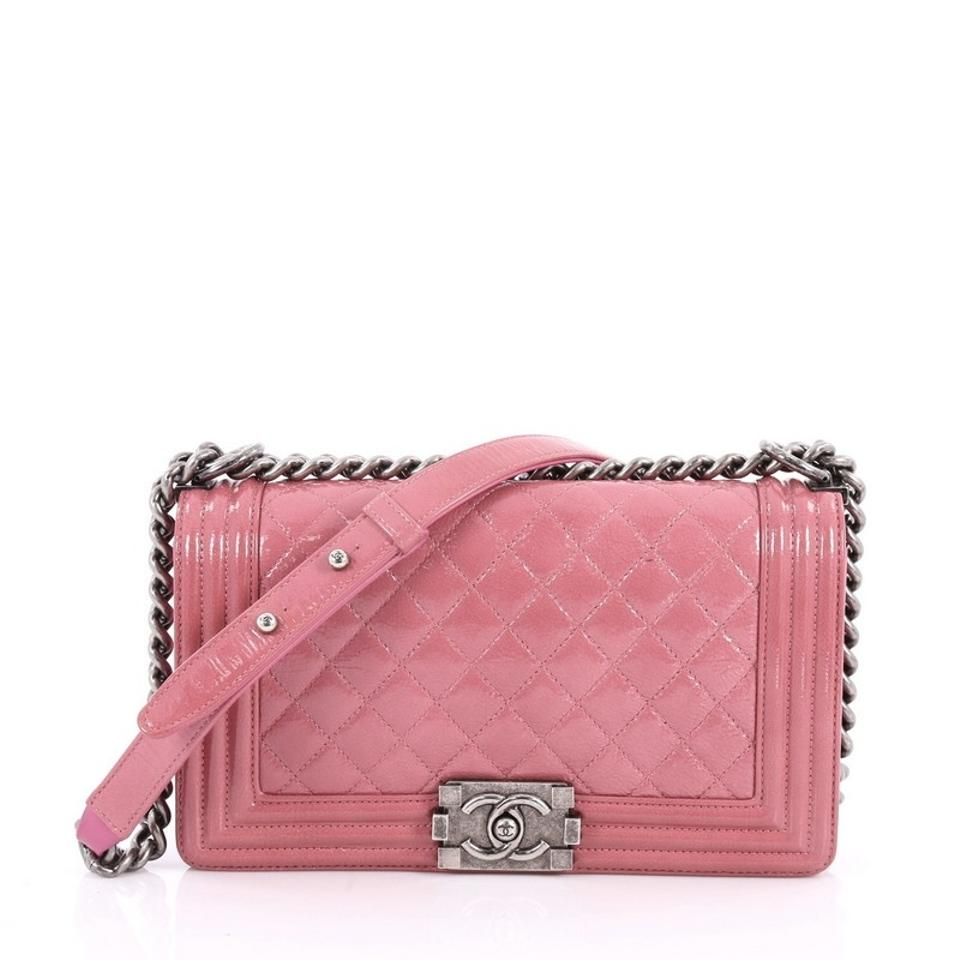 1f55473ddb8f Chanel Classic Flap Boy Quilted Crinkled Old Medium Pink Patent ...