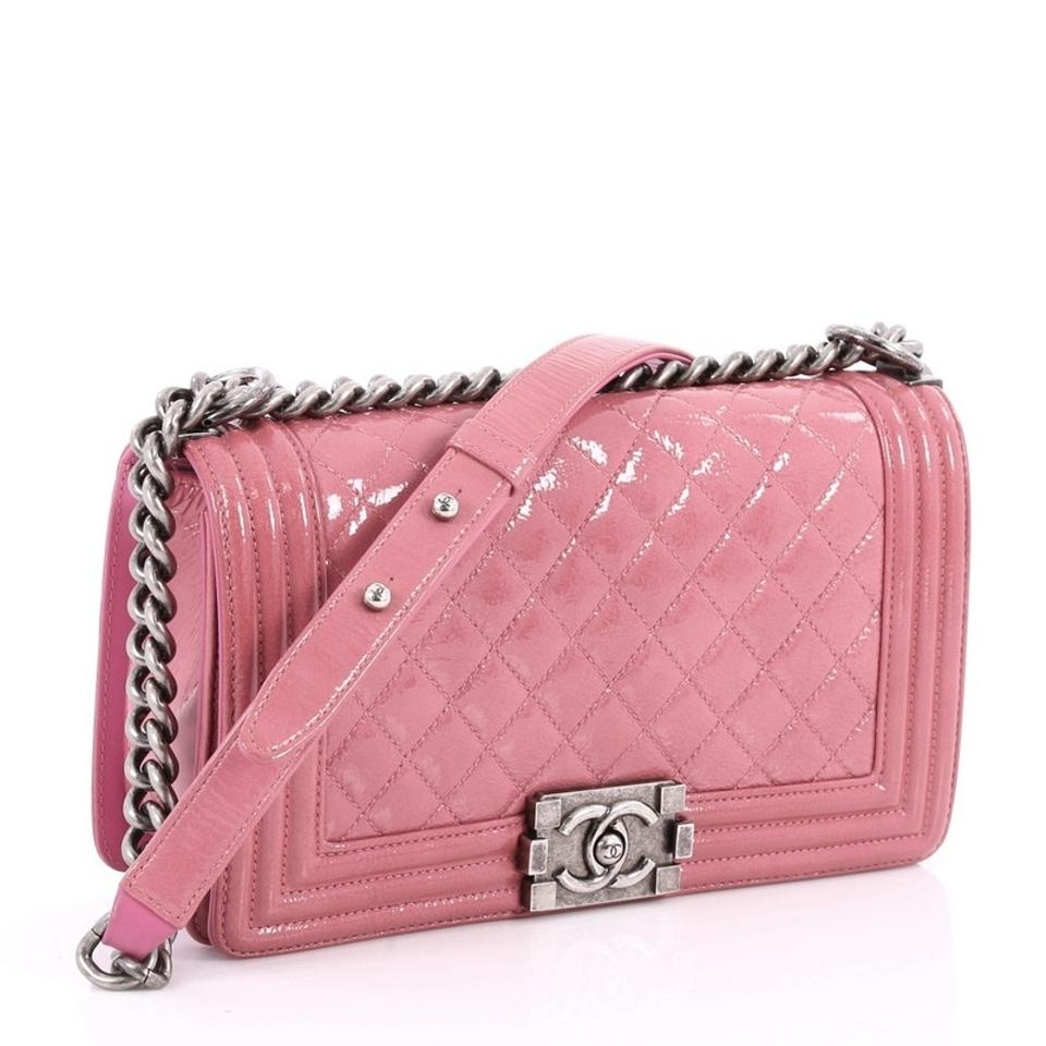 cd2cf545df3b Chanel Classic Flap Boy Quilted Crinkled Old Medium Pink Patent Leather  Shoulder Bag - Tradesy