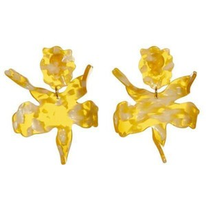 Lele Sadoughi Lele Sadoughi Ginger Yellow Paper Lily Statement Clip-On Earrings