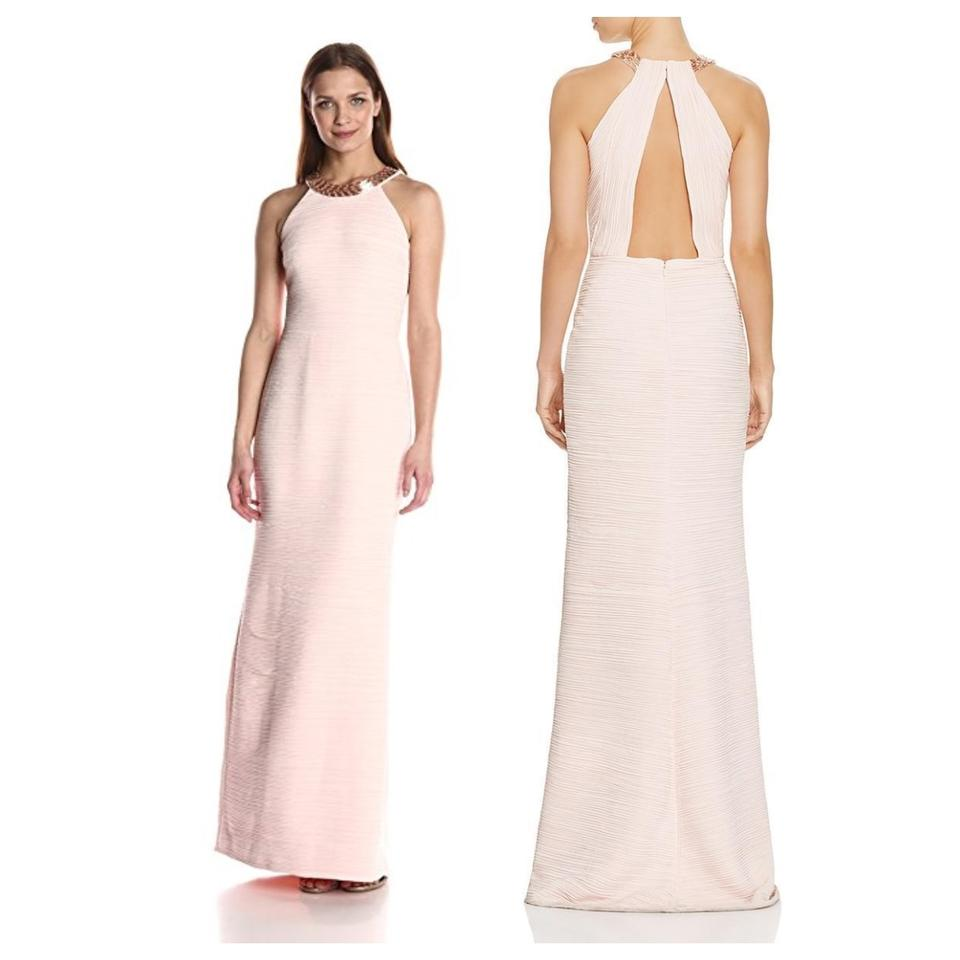 Carmen Marc Valvo Pink Blush Infusion Ruched Beaded Halter Full ...