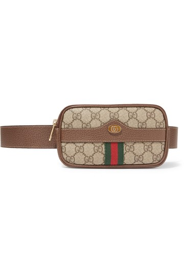 b7167184d45 gucci ophidia textured leather trimmed printed belt beige and dark brown  coated canv... TRADESY