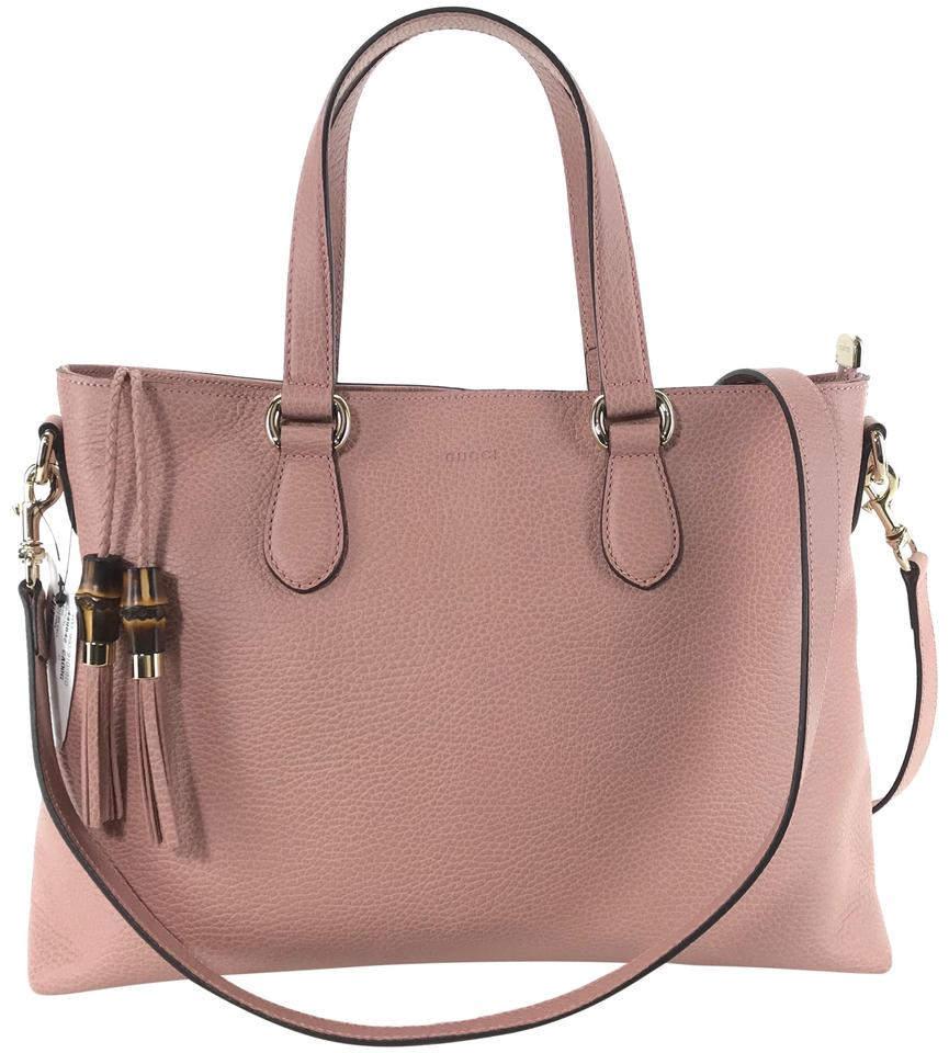 fd8fa487a2ae65 Gucci 449642 Tote with Bamboo Detail and Shoulder Strap Pink Leather ...