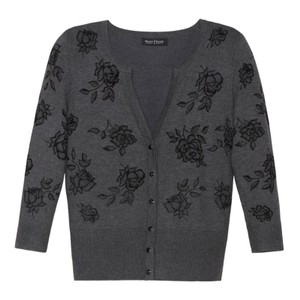 White House | Black Market Floral Stretchy Buttonup Textured Cardigan
