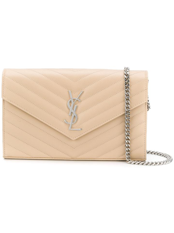 Saint Laurent Chain Wallet Ysl Monogram Envelope Woc Beige Leather Cross  Body Bag 4f091d1786dec