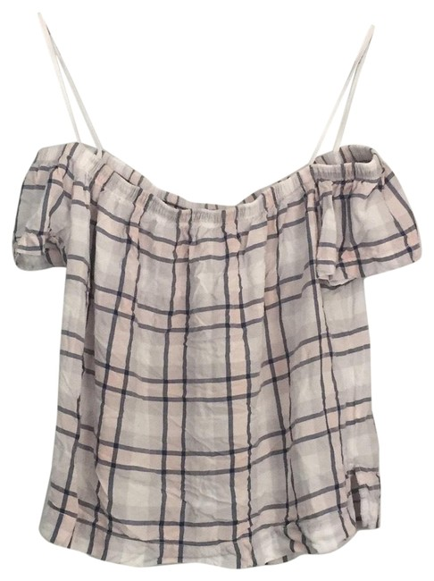 Item - Pink Blue Cloth & Stone Off The Shoulder Plaid Top Activewear Bottoms Size 0 (XS)