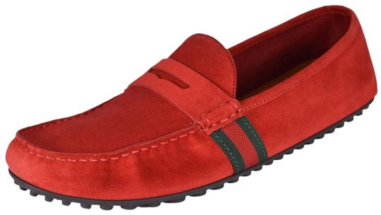 035b65cd7d3 Gucci Red New Men s 407411 Suede Green Web Drivers 9 G 10us Flats ...