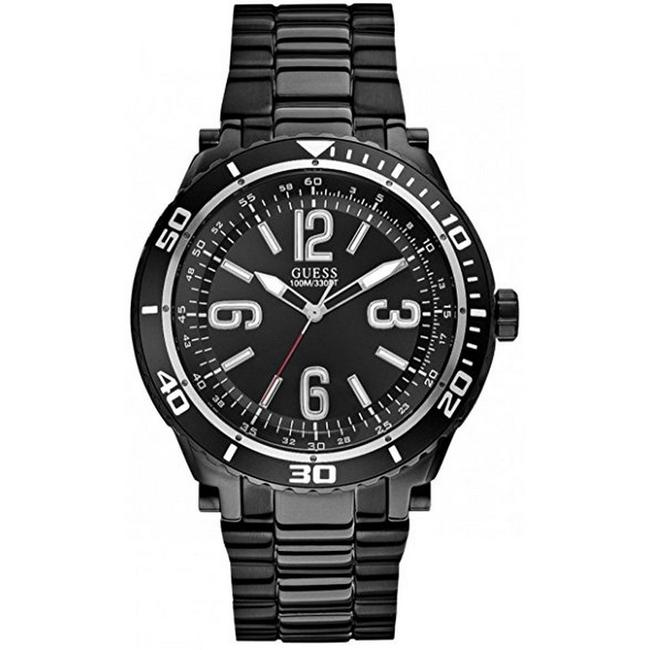 Item - U0043g2 Men's Black Steel Bracelet with Black Analog Dial Watch