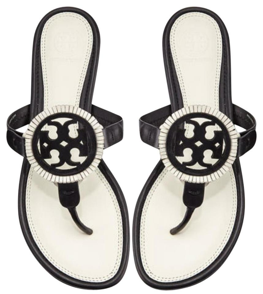 f8013371b7ee35 Tory Burch Black White Miller Fringe Thong Flats Flip Flops Leather ...
