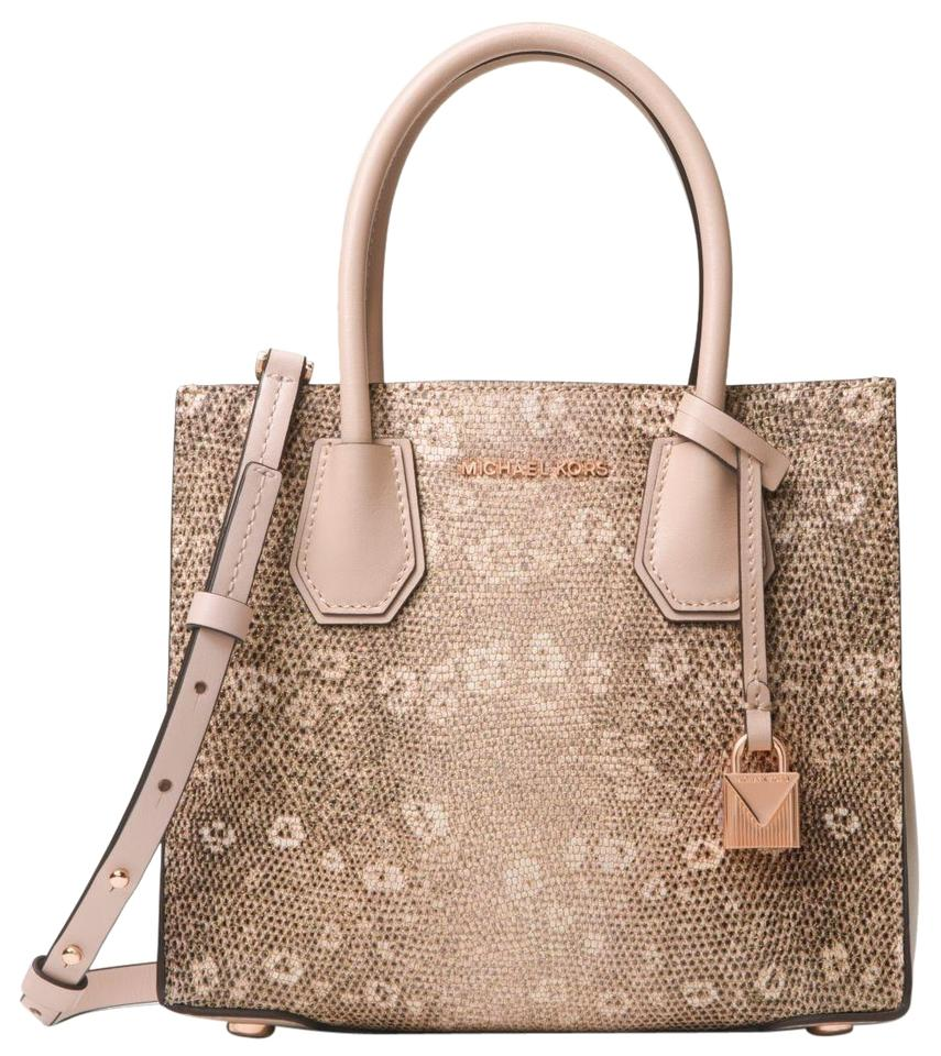 fa9afffa7938 Michael Kors Mercer Embossed Lizard Beige Leather Tote - Tradesy