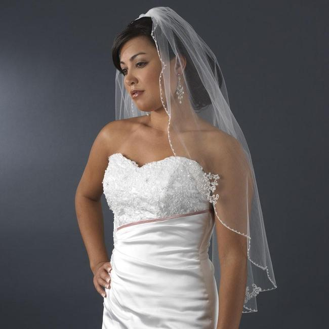 Item - Ivory Or White Medium Fingertip Length with Floral Embroidery Adornments Bridal Veil