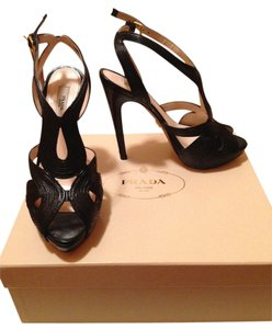 Prada Platform Strappy Black Sandals