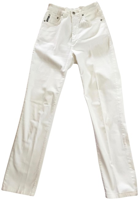 Item - White Luxurious Soft Stretch Made In Italy Straight Leg Jeans Size 27 (4, S)