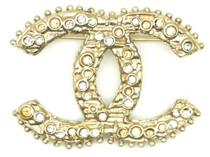 Chanel CC colored crystals gold textured hardware brooch pin charm