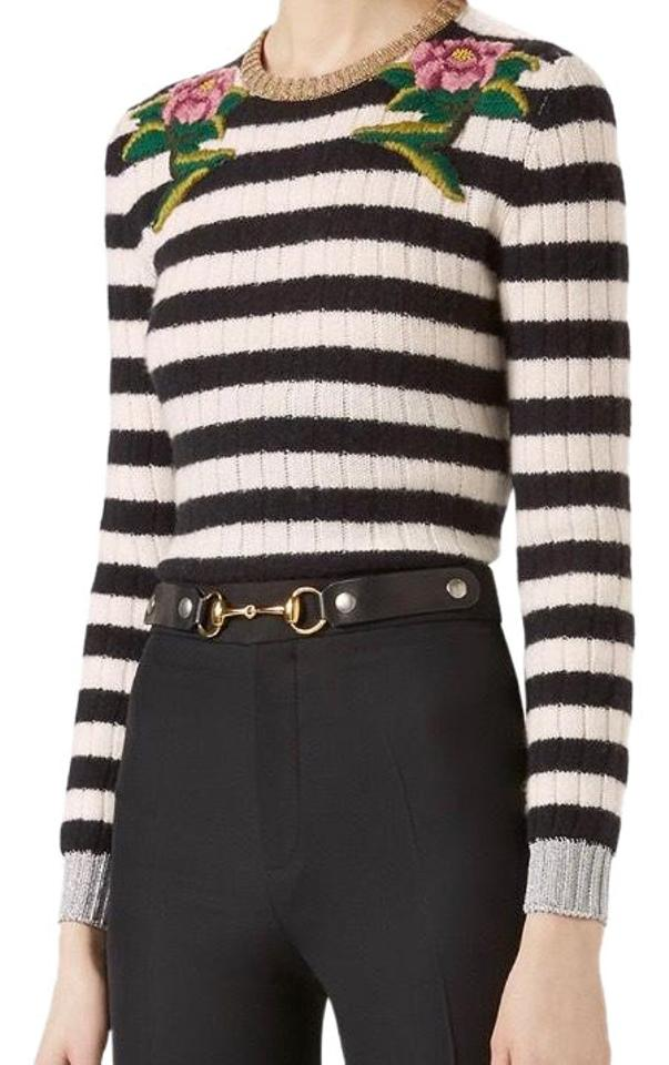 98b1d36109a7d Gucci Striped Cashmere with Metallic Detail Black Sweater - Tradesy