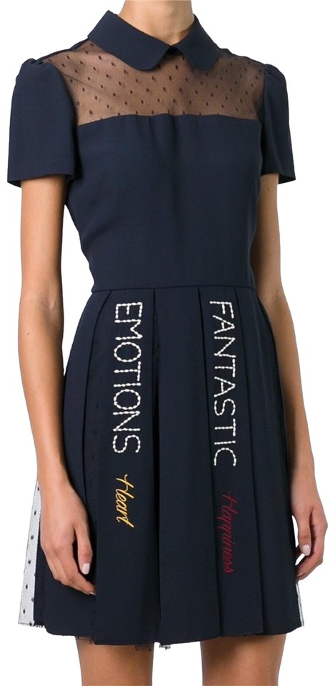 8995b30fdcab3 RED Valentino Navy Lace Pleated Embroidered Mid-length Night Out ...